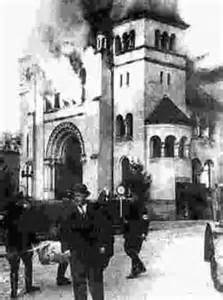 Kristallnacht burning synagogue in Baden-Baden