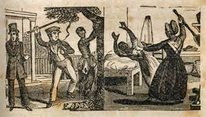 17th century illustration of sexual and physical abuse of female slaves by Christians