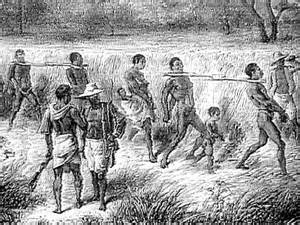 18th century engraving of slavery in the USA where women went on force marches to cause the abortion of fetus generated by white Christian males.