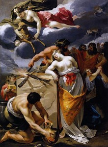 "François Perrier's ""The Sacrifice of Iphigenia"" (17th century) depicting Agamemnon's murder of his daughter Iphigenia."