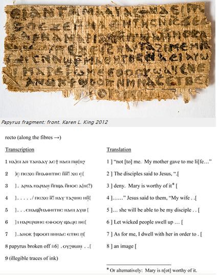 Gospel of Jesus Wife (recto) in Coptic