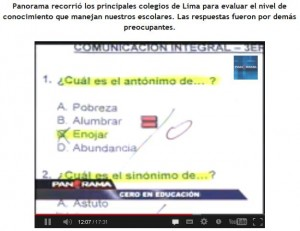 Perú secondary students unable to answer simple questions