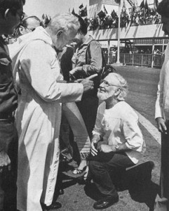 John Paul II chastising Father Ernesto Cardenal for speaking out for the poor.