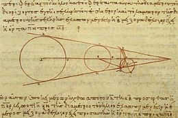 Aristarchus's 3rd-century BCE calculations on the relative sizes of (from left) the Sun, Earth and Moon, from a 10th-century CE Greek copy