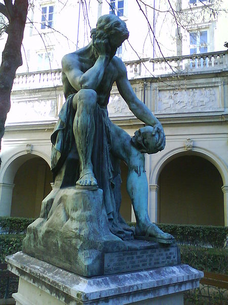 Democritus meditating on the seat of the soul (Bronze statue by Léon-Alexandre Delhomme 1868)