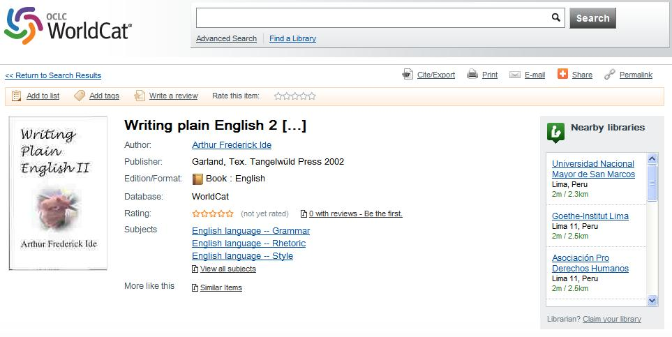 Writing Plain English II (retrieved www.worldcat.org) 29 August 2013.