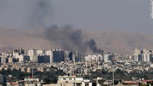 A series of massive explosions illuminated the dark sky over Damascus early Sunday, igniting renewed claims that Israel has launched more bombs from the border.