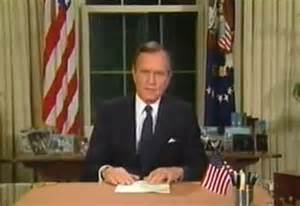 George H.W. Bush declaring the beginng of the Gulf War 1991