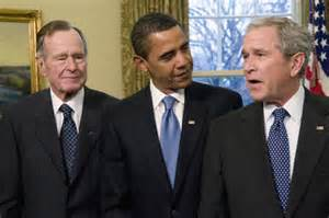 George HW Bush, Barack Obama, George W Bush
