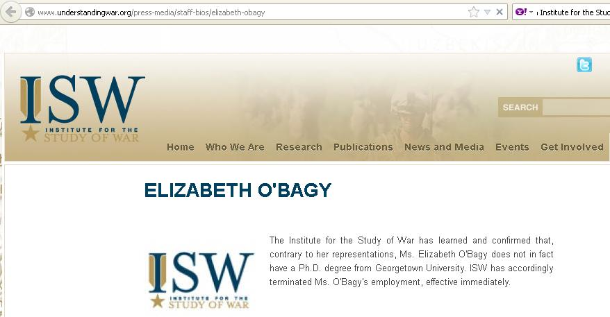 O'Bagy Fired by the right-wing Institute for the Study of War a pro-war think tank