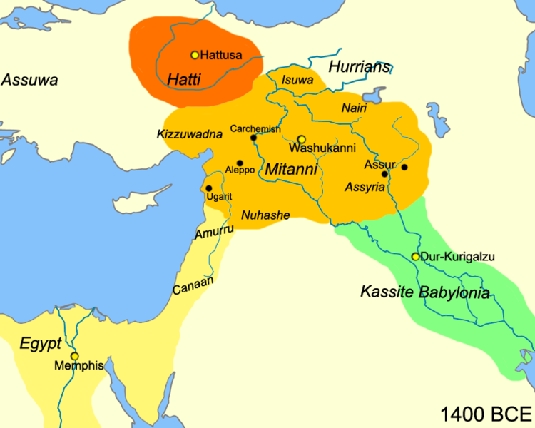 <i>Map of the Near East ca. 1400 BCE showing the Kingdom of Mitanni at its greatest extent</i>