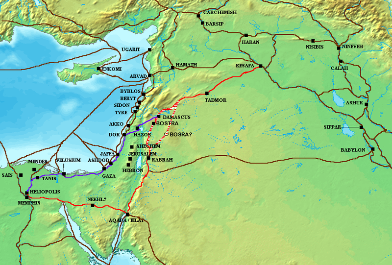 <i/>The Via Maris</i> (purple), <i>King's Highway</i> (red), <i>and other ancient Levantine trade routes, c. 1300 BCE</i> (map in public domain)tes, c. 1300 BCE (map in public domain)