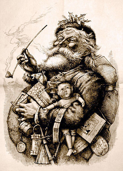 <i>1881 illustration by Thomas Nast who, with Clement Clarke Moore, helped to create the modern image of Santa Claus</i>
