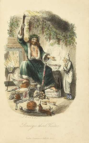 <i>Ghost of Christmas Present,</i> a colorized version of the original illustration by John Leech made for Charles Dickens festive classic <i>A Christmas Carol</i> 1843.