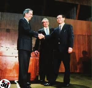 <i>Mario Vargas Llosa and Alberto Fujimori debate 1990.</i>