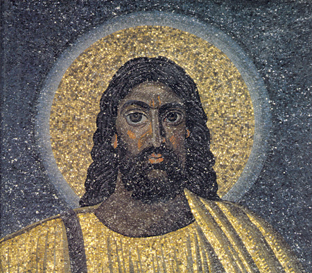 <i>Mosaic in Roman church created 530 CE of face of Jesus</i>