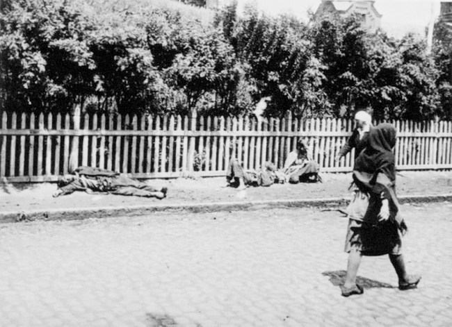 Holodomor (Голодомор). <i>Passers-by no longer pay attention to the corpses of starved peasants on a street in Kharkiv, 1933.</i>