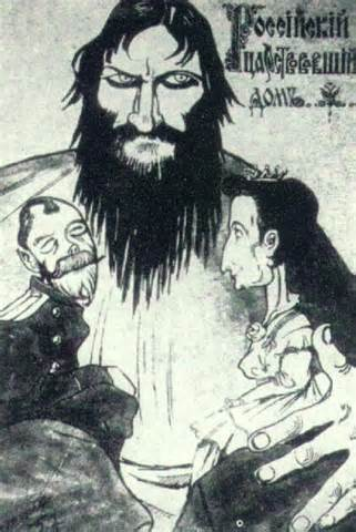 <i>Popular view of the time that Rasputin dominated the Tsar and Tsarina.</i>