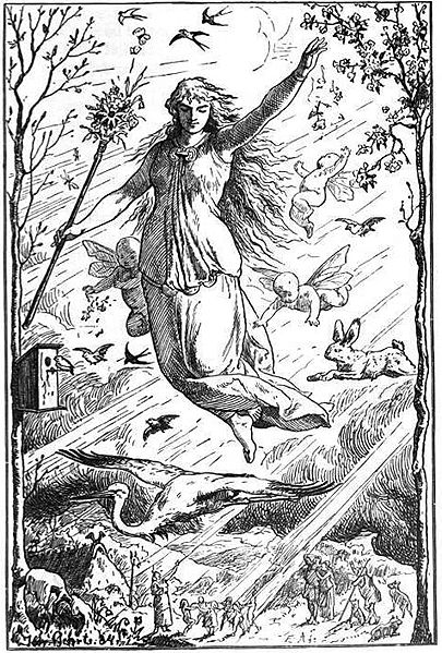 <i>Ostara</i> by Johannes Gehrts 1884. <i>The Goddess flies through the heavens surrounded by putti (young naked angels), rabbits and other animals crowned with light while Germanic people worship from below.</i>