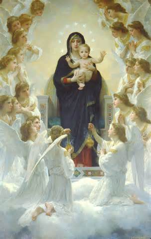 Bouguereau's <i>Virgin with Angels</i> in Egg-shaped halo