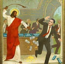 Jesus chases out money changers.