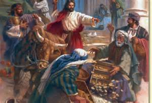 <i>Jesus chases the money changers out of the Temple courtyard.</i>