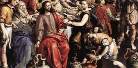 <i>Jesus changing water into wine at wedding in Cana</i> 15th century