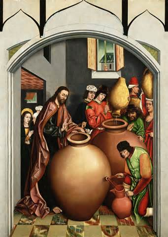 <i>Jesus changes water into wine at the wedding at Cana.</i>